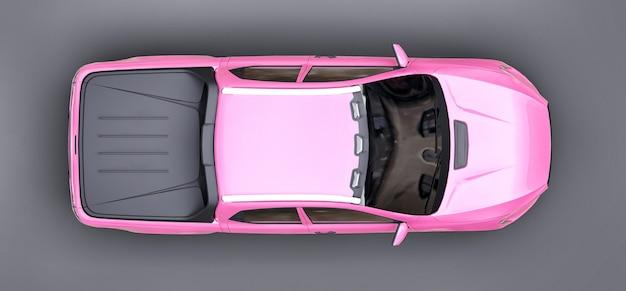 Illustration 3d de la camionnette de fret concept rose sur fond isolé gris. rendu 3d.