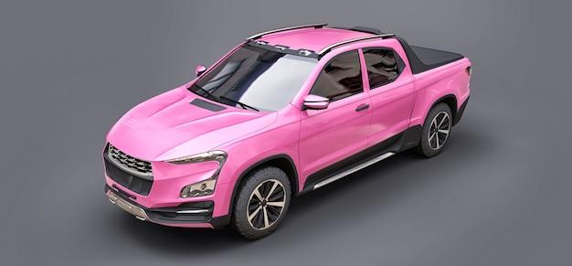 Illustration 3d de camionnette de fret concept rose sur fond isolé gris. rendu 3d.