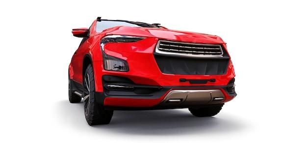 Illustration 3d de camionnette de fret concept rouge sur fond isolé blanc. rendu 3d.