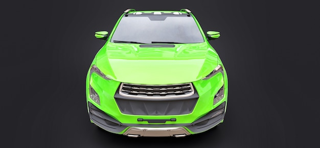 Illustration 3d de la camionnette de fret concept vert sur fond isolé gris. rendu 3d.