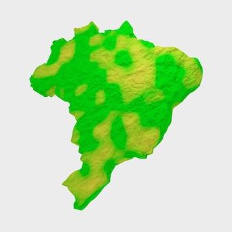 Illustration 3d de la carte du brésil en vert et jaune texturé sur fond blanc