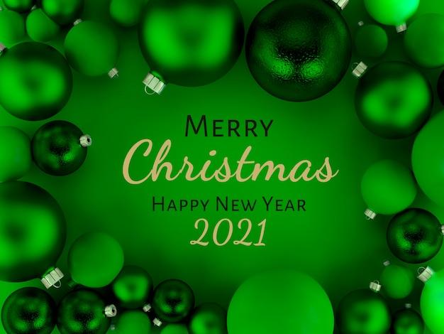 Illustration 3d, carte de voeux de fond de boules de noël vertes, joyeux noël et bonne année