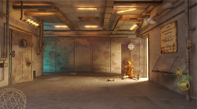 Illustration 3d. catastrophe technologique dans un laboratoire secret souterrain. apocalypse nucléaire. jeu de tir sur ordinateur