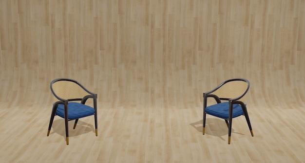 Illustration 3d chaise en bois de style vintage sur parquet et mur de grain de bois clair pour les travaux de conception