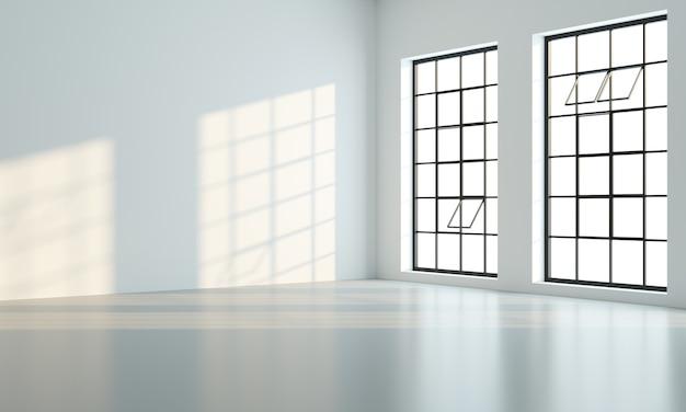 Illustration 3d. chambre loft ou studio avec de grandes fenêtres noires. intérieur moderne.