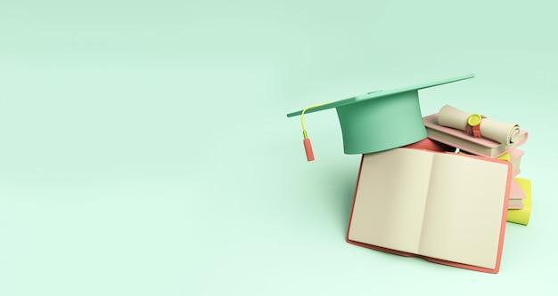Illustration 3d. chapeau de graduation et une pile de livres sur fond isolé