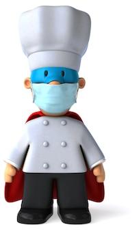 Illustration 3d d'un chef avec un masque