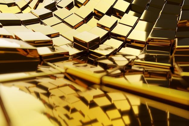 Illustration 3d le chemin d'or menant à la richesse et au succès. composition de formes carrées géométriques. cubes de métal jaune disposés au hasard. modèle de fils de chauffage infrarouge.