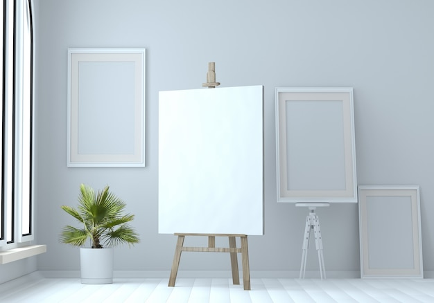 Illustration 3d d'un chevalet en bois avec une toile vierge et des cadres vides. maquette. atelier d'artiste