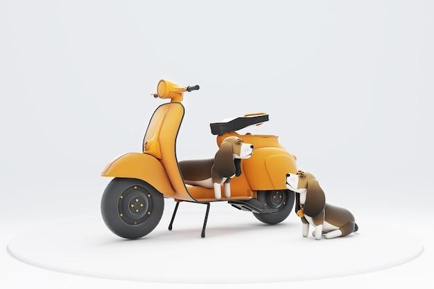 Illustration 3d d'un chien assis sur une moto