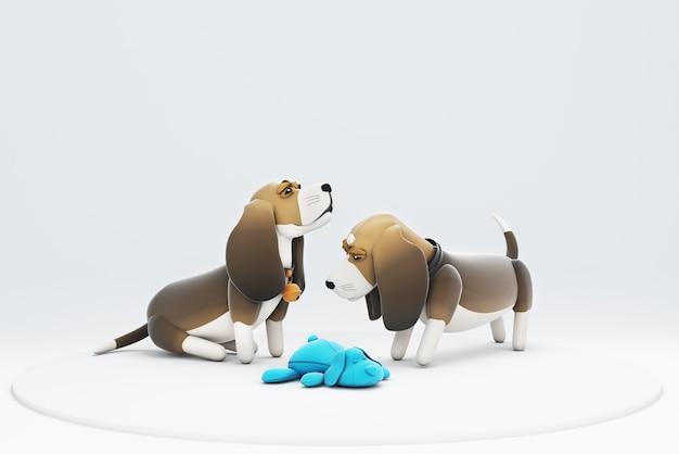Illustration 3d d'un chien assis et regardant une poupée de chien