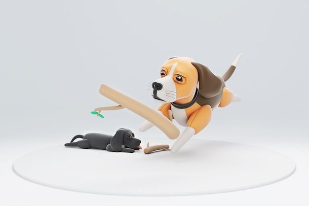 Illustration 3d d'un chien chassant une branche