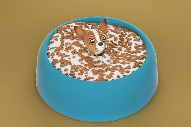 Illustration 3d de chien chihuahua dans un bol pour chien