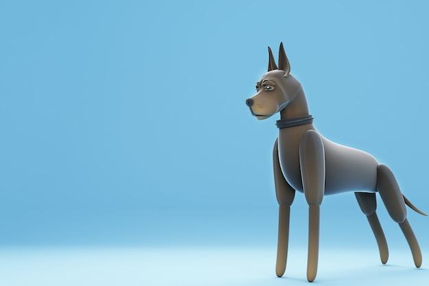 Illustration 3d de chien debout posant posant