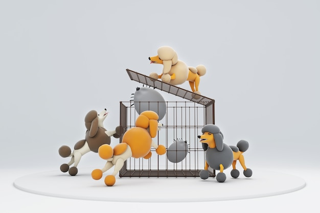 Illustration 3d d'un chien essayant de fermer la cage