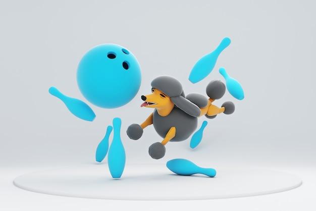 Illustration 3d d'un chien jouant au bowling