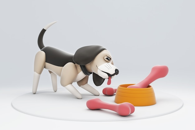 Illustration 3d de chien jouant avec des os