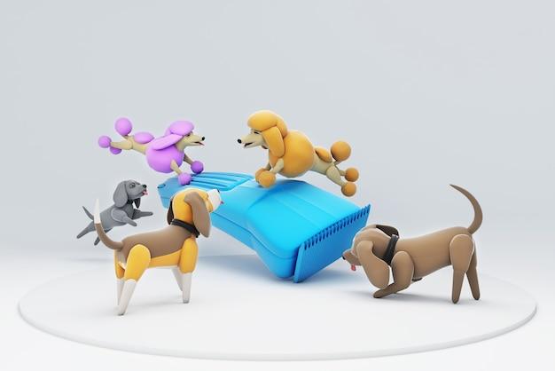 Illustration 3d d'un chien jouant avec une tondeuse