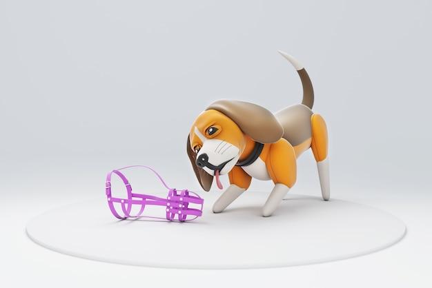 Illustration 3d d'un chien jouant