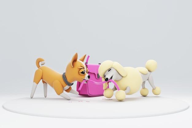 Illustration 3d de chien mordant un sac