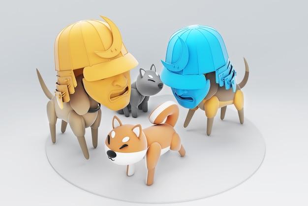 Illustration 3d d'un chien portant un masque