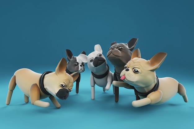 Illustration 3d de chiens parlant