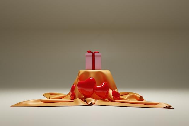 Illustration 3d des coeurs et cadeaux de la fête des mères et de la saint-valentin