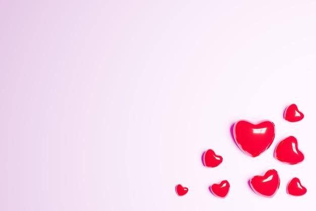 Illustration 3d des coeurs de la fête des mères et de la saint-valentin
