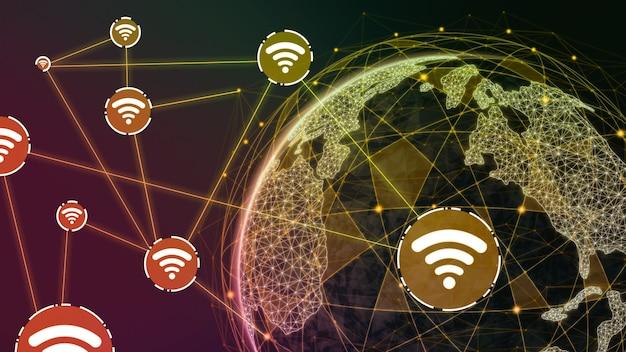 Illustration 3d de la communication créative moderne mondiale et de la carte du réseau internet