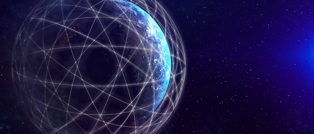 Illustration 3d de la communication créative moderne mondiale et carte du réseau internet