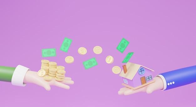 Illustration 3d. concept de commerce de maison. personnages de dessins animés tenant des maisons et des pièces de monnaie en espèces et des pièces flottantes autour