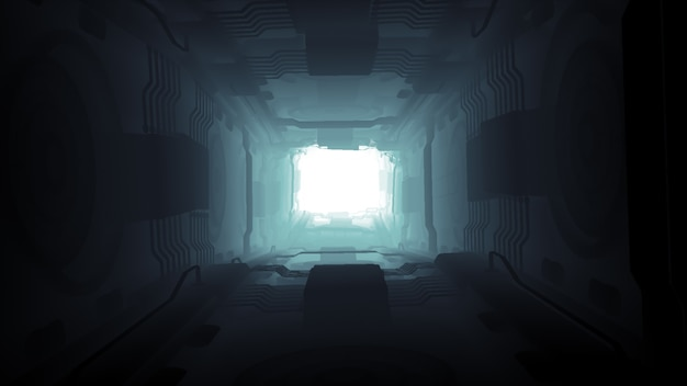 Illustration 3d conception futuriste vaisseau spatial intérieur infini sombre couloir