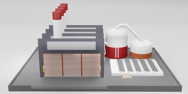 Illustration 3d de conception industrielle de bâtiment industriel d'usine
