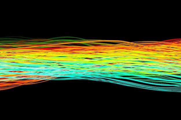 Illustration 3d de conception onde sonore numérique abstraite colorée sur fond noir enregistreur audio égaliseur de reconnaissance vocale