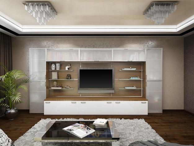 Illustration 3d de la conception d'un salon dans des tons beiges