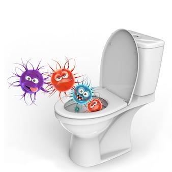 Illustration 3d conceptuel de toilettes microbes isolé sur fond blanc