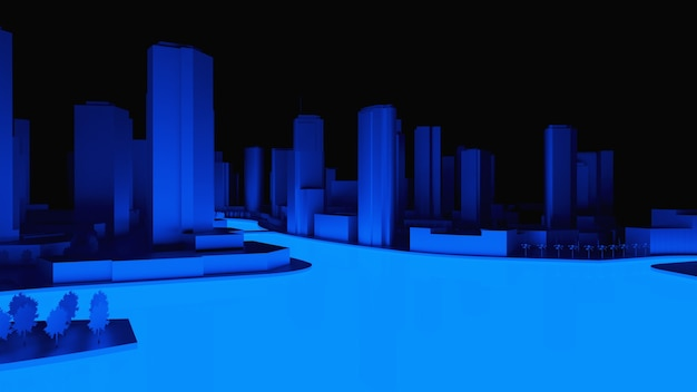 Illustration 3d conceptuelle d'une ville de nuit avec éclairage de l'eau rougeoyante. rendu 3d.