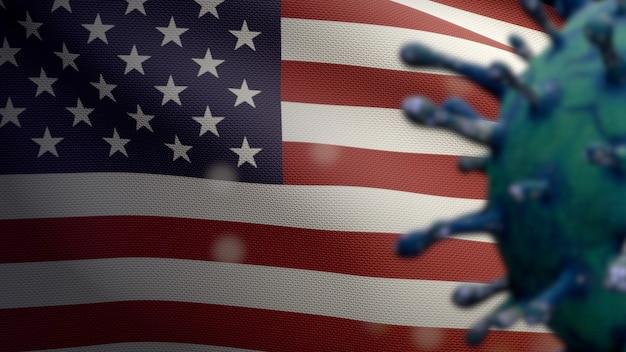 Illustration 3d coronavirus de la grippe flottant au-dessus du drapeau américain. bannière des états-unis avec le concept d'infection par le virus de la pandémie de covid19. gros plan de l'enseigne de texture de tissu réel