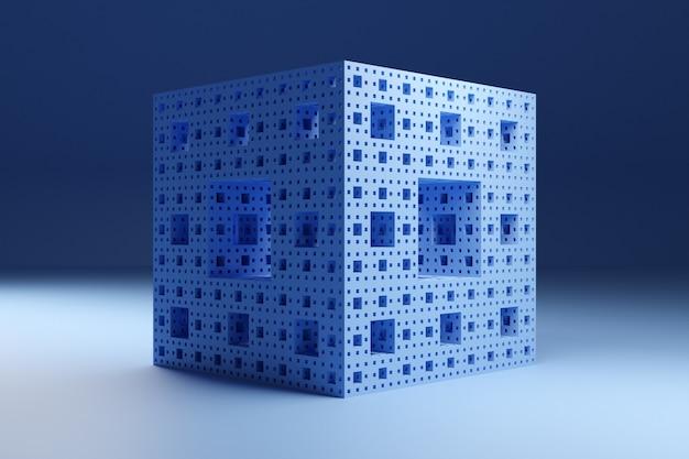 Illustration 3d D'un Cube Néon Avec Diverses Fenêtres Lumineuses Brillantes Dans Une Pièce Sombre. Forme Cyber En Réalité Virtuelle. Concept De Maison Futuriste Photo Premium