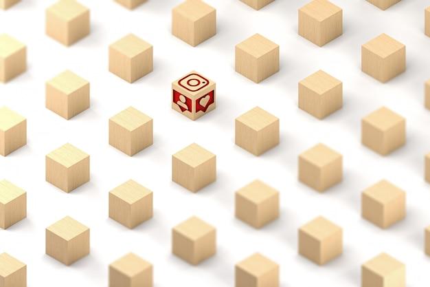 Illustration 3d, cubes en bois avec icônes instagram sculptées
