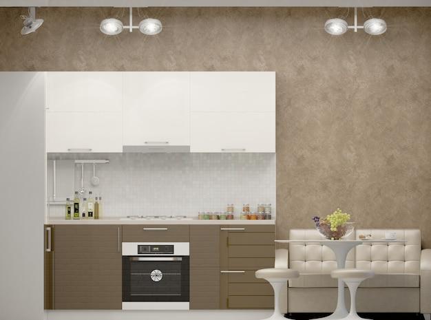 Illustration 3d d'une cuisine dans les tons beiges