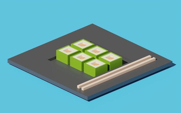 Illustration 3d de la cuisine japonaise cube sushi