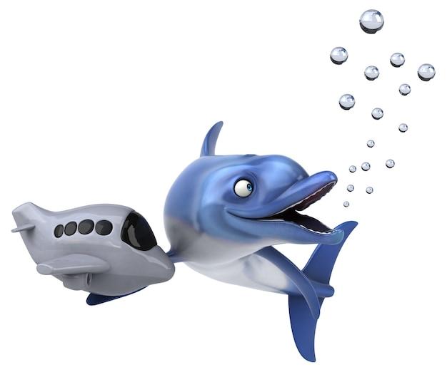 Illustration 3d de dauphin amusant