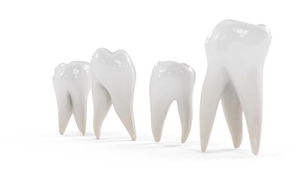 Illustration 3d dents saines isolées sur fond blanc. denture.