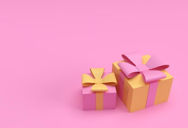 Illustration 3d de deux coffrets cadeaux avec des arcs et ruban design.