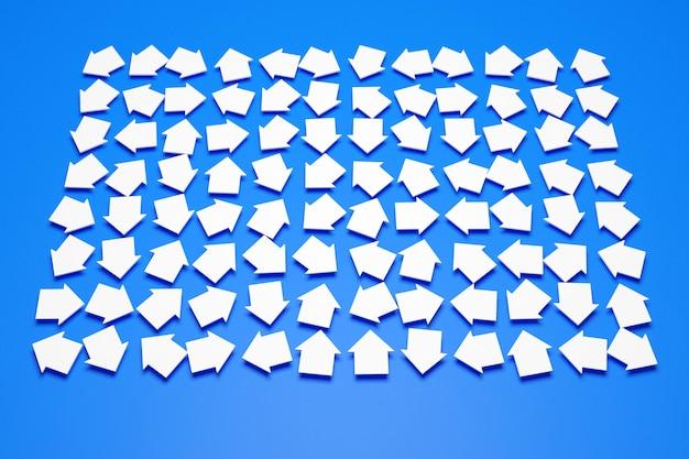 Illustration 3d des différentes icônes de flèches blanches. flèches montrant le mouvement les unes sur les autres