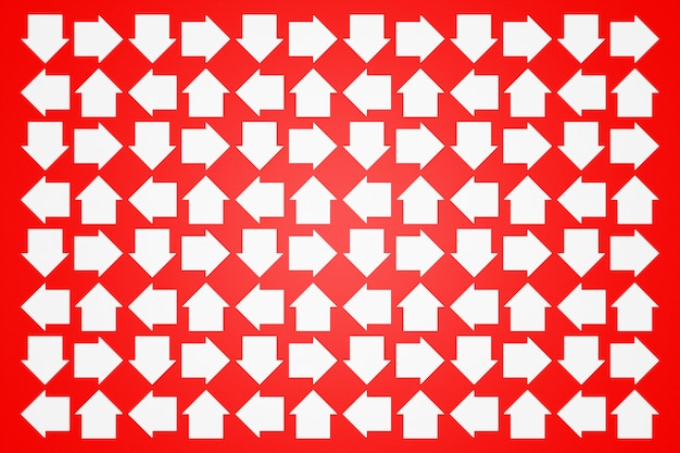 Illustration 3d des différentes icônes de flèches blanches