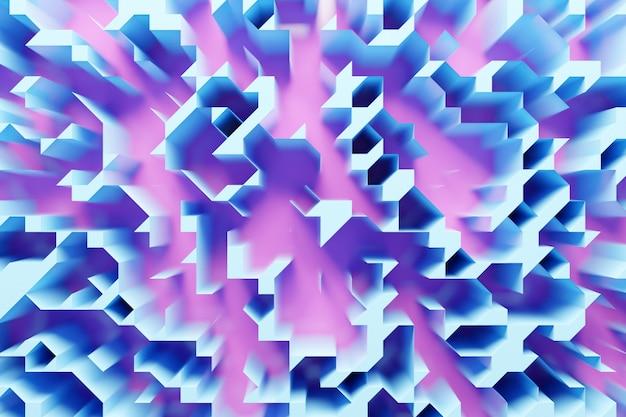 Illustration 3d de différentes rangées de formes bleues et roses.