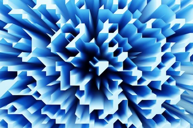 Illustration 3d de différentes rangées de formes bleues