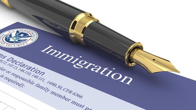 Illustration 3d de document d'immigration